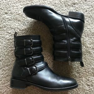 """Via Spiga """"Bara"""" leather motorcycle ankle booties"""